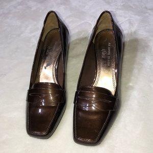 Anne Klein Santiago Bronze Patent Wedge Loafers 6